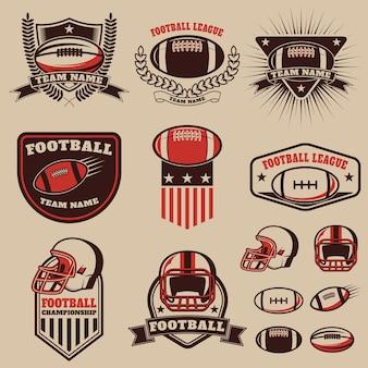 Conjunto de las etiquetas de fútbol americano
