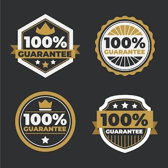 Conjunto de etiquetas de garantía al cien por cien.