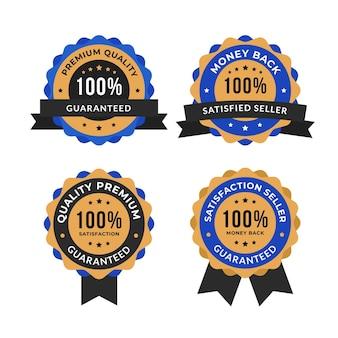 Conjunto de etiquetas de garantía del cien por ciento