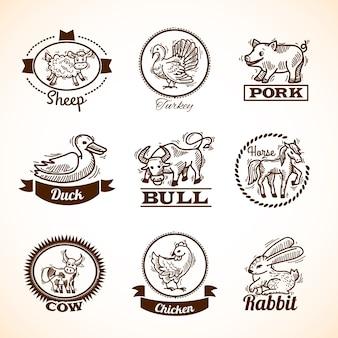 Conjunto de etiquetas de granja