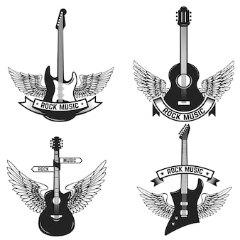 Conjunto de etiquetas con guitarras y alas. la música rock. elementos para emblema, signo, insignia. ilustración