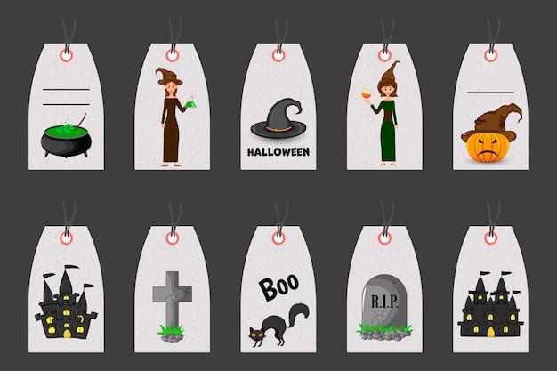 Conjunto de etiquetas de halloween para artículos de vacaciones. estilo de dibujos animados