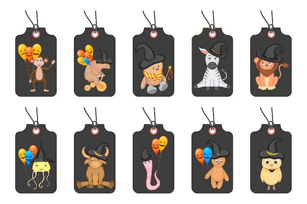 Conjunto de etiquetas de halloween para artículos de vacaciones en un fondo blanco. estilo de dibujos animados .