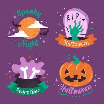 Conjunto de etiquetas de halloween dibujadas a mano