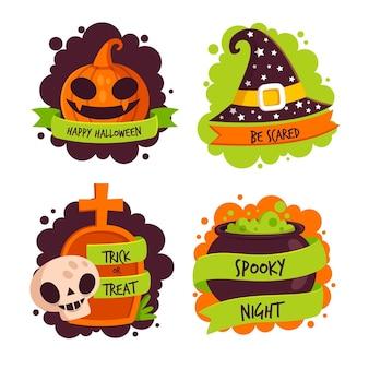 Conjunto de etiquetas de halloween de diseño plano