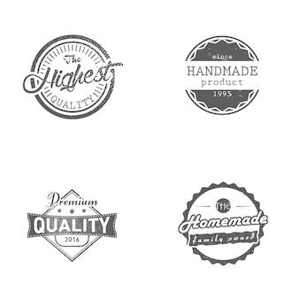 Conjunto de etiquetas hechas a mano, caseras, premium y de la más alta calidad, insignias, ilustración vectorial. insignias de estilo retro vintage