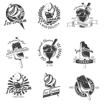 Conjunto de etiquetas de helado monocromo vintage