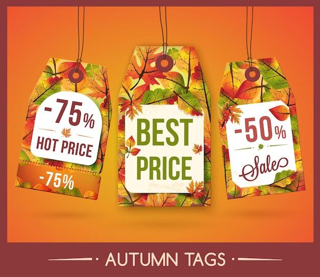 Conjunto de etiquetas con hojas de otoño para descuento y venta