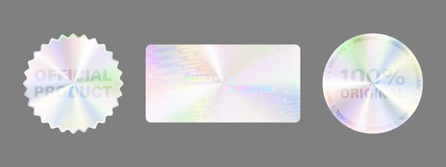 Conjunto de etiquetas de holograma aislado.