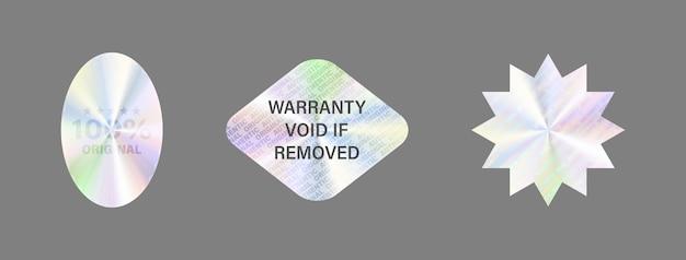 Conjunto de etiquetas de holograma aislar etiqueta de holograma