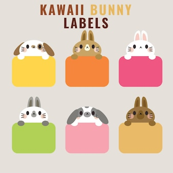 Conjunto de etiquetas de ilustración de conejito lindo o estilo de dibujos animados de etiquetas