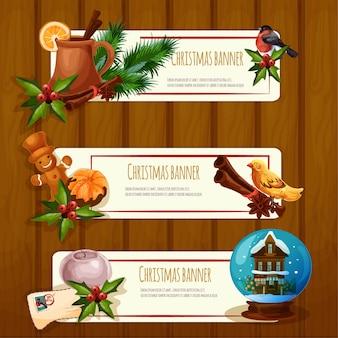 Conjunto de etiquetas de ilustración de navidad