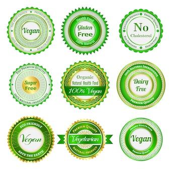 Conjunto de etiquetas, insignias y pegatinas en alimentos orgánicos y naturales.