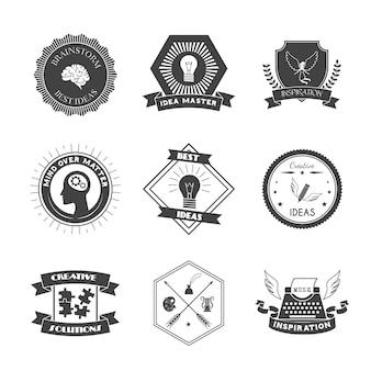 Conjunto de etiquetas de inspiración e inspiración creativa de una lluvia de ideas de muse