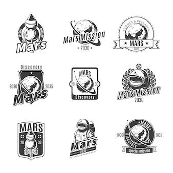 Conjunto de etiquetas de investigación de marte monocromo vintage