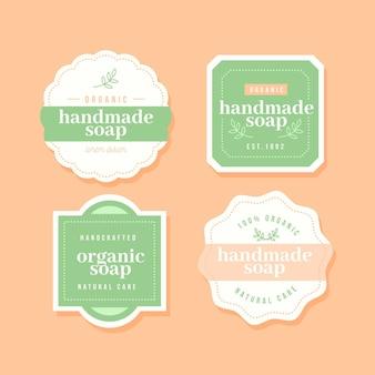 Conjunto de etiquetas de jabón creativo