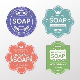Conjunto de etiquetas de jabón diferentes.