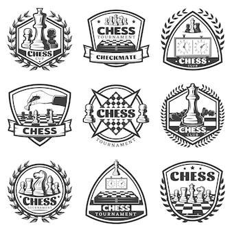 Conjunto de etiquetas de juego de ajedrez monocromo vintage