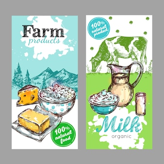 Conjunto de etiquetas de leche de productos agrícolas