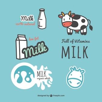 Conjunto de etiquetas de leche