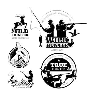 Conjunto de etiquetas, logotipos y emblemas vectoriales de caza y pesca vintage. ciervo y rifle, varilla y apuntando ilustración.