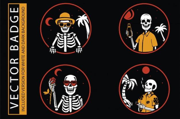 Conjunto de etiquetas de lucha contra incendios monocromo vintage