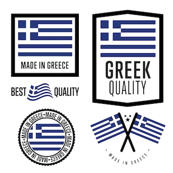 Conjunto de etiquetas made in greece