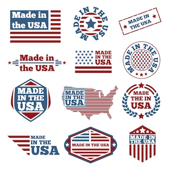 Conjunto de etiquetas made in the usa
