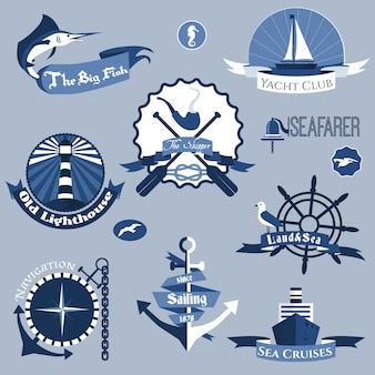 Conjunto de etiquetas de mar