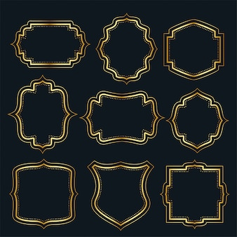 Conjunto de etiquetas de marco vintage dorado