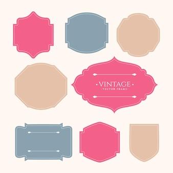 Conjunto de etiquetas de marco vintage de ocho