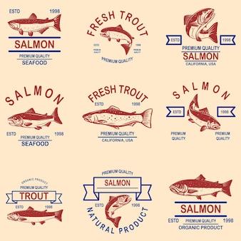 Conjunto de etiquetas de mariscos de salmón, trucha. elemento de diseño de logotipo, etiqueta, letrero, cartel, banner.
