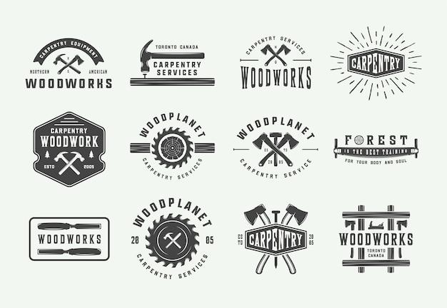 Conjunto de etiquetas mecánicas y carpintería de carpintería vintage