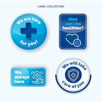 Conjunto de etiquetas médicas planas