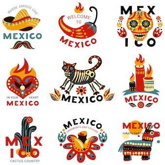 Conjunto de etiquetas mexicanas