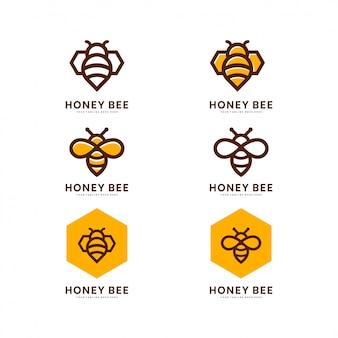 Conjunto de etiquetas de miel y abejas