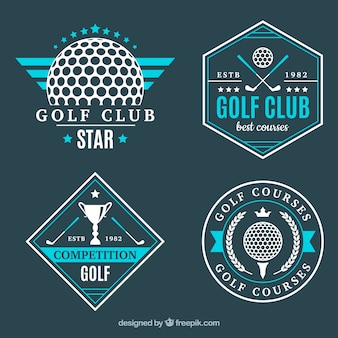 Conjunto de etiquetas modernas azules de golf