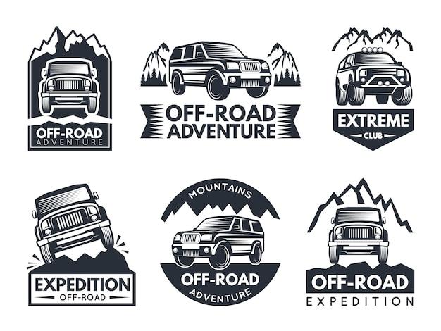 Conjunto de etiquetas monocromáticas con autos suv.