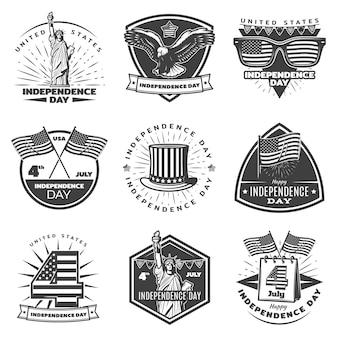 Conjunto de etiquetas monocromáticas del día de la independencia vintage