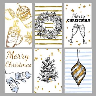 Conjunto de etiquetas de navidad de bosquejo