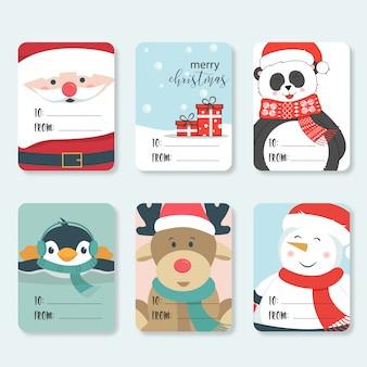 Conjunto de etiquetas de navidad lindo