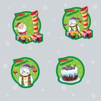 Conjunto de etiquetas para navidad con muñeco de nieve, papá noel y pastel