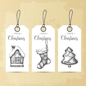 Conjunto de etiquetas navideñas con elementos de navidad