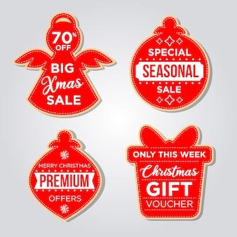 Conjunto de etiquetas navideñas en estilo de diseño plano