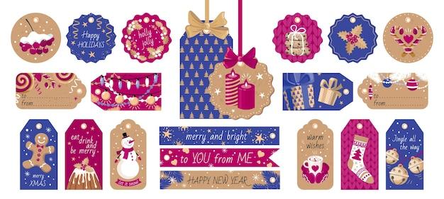 Conjunto de etiquetas navideñas.