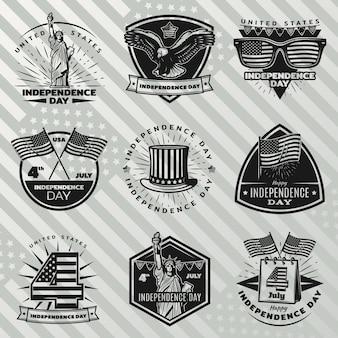 Conjunto de etiquetas negras del día de la independencia vintage