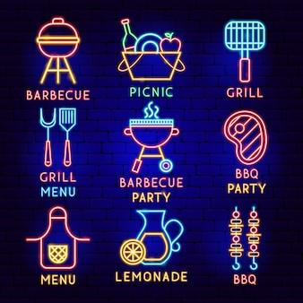 Conjunto de etiquetas de neón de barbacoa. ilustración de vector de promoción de barbacoa.