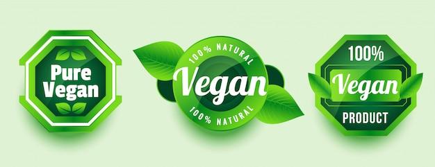 Conjunto de etiquetas o adhesivos de productos naturales veganos puros