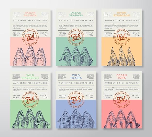 Conjunto de etiquetas o envases de mariscos