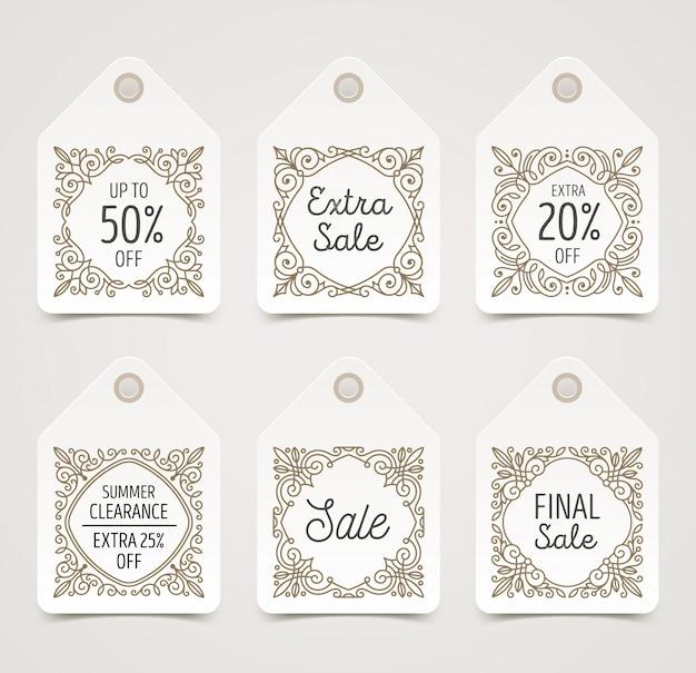 Conjunto de etiquetas o etiquetas de venta decoradas con patrón de florituras. ilustración.